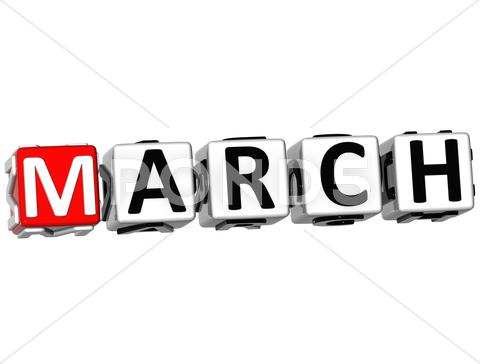 Stock Illustration of 3d march block text