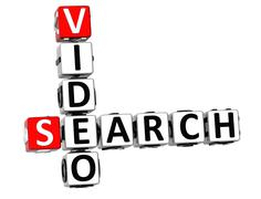 3d search video crossword - stock illustration