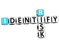 3d identify risk crossword - stock illustration