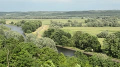 View of the Oder Valley from Stuetzkow Viewpoint, Unteres Odertal National Park, Stock Footage