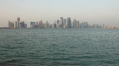 Qatar Doha Westbay from Corniche at Sunset Stock Footage