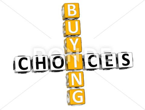Stock Illustration of 3d buying choices crossword