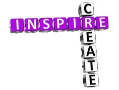 3d inspire create crossword - stock illustration