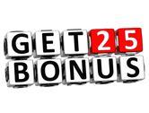 3d get 25 bonus credits block letters Stock Illustration