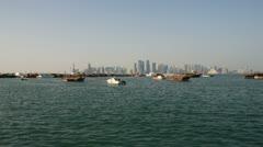 Qatar Doha Westbay from end of Al Corniche Stock Footage