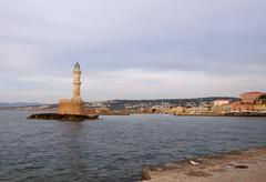lighthouse in chania - stock photo