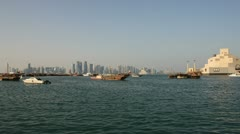 Qatar Doha Westbay from Museum  on Clear Day Stock Footage