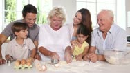 Big family making pastry Stock Footage