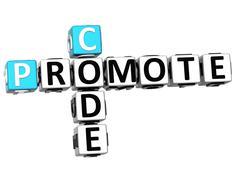 3d promote code crossword cube words Stock Illustration