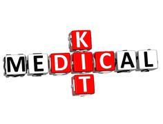3d medical kid crossword block button text - stock illustration
