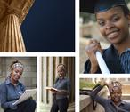 Education building columns and student Stock Photos