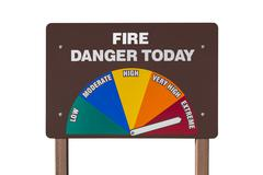 extreme fire danger today sign isolated - stock photo