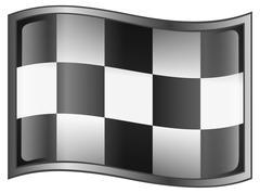 checkered flag icon, isolated on white background - stock illustration