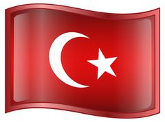 turkey flag icon - stock illustration