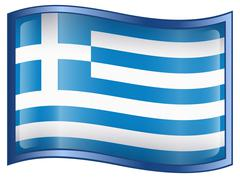 greece flag icon - stock illustration