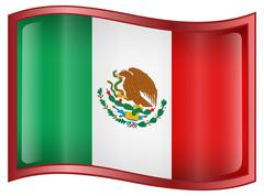 mexico flag icon - stock illustration