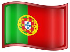 portugal flag icon - stock illustration
