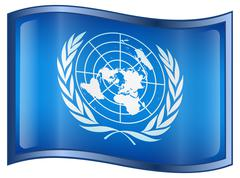 united nations flag icon - stock illustration