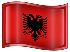 albania flag icon - stock illustration