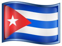 cuba flag icon - stock illustration