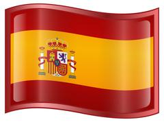 spain flag icon - stock illustration