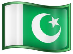 pakistan flag icon - stock illustration