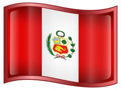 Peru flag icon Stock Illustration