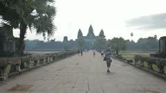 Angkor wat tourist tourists temple cambodia economy Stock Footage