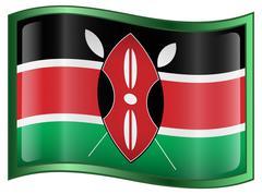 Kenya flag icon, isolated on white background. Stock Illustration