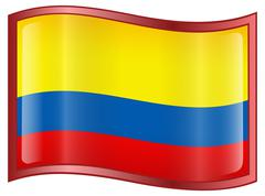 colombia flag icon - stock illustration