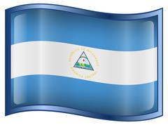 nicaragua flag icon, isolated on white background. - stock illustration