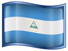 Nicaragua flag icon, isolated on white background. Stock Illustration