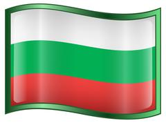 bulgaria flag icon, isolated on white background. - stock illustration
