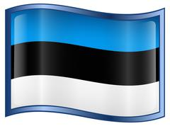 estonia flag icon, isolated on white background. - stock illustration