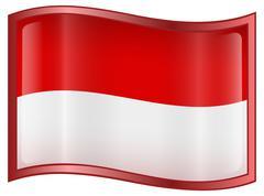 Indonesia flag icon, isolated on white background. Stock Illustration