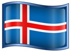 Iceland flag icon, isolated on white background. Stock Illustration