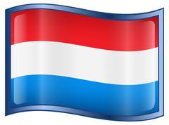 luxemborg flag icon, isolated on white background. - stock illustration