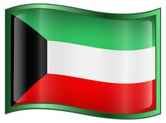 Stock Illustration of kuwait flag icon, isolated on white background.
