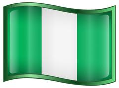 nigeria flag icon, isolated on white background. - stock illustration