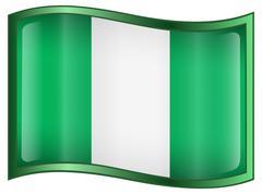 Stock Illustration of nigeria flag icon, isolated on white background.