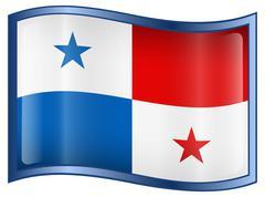 Stock Illustration of panama flag icon, isolated on white background.
