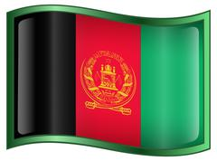 afghanistan flag icon, isolated on white background. - stock illustration