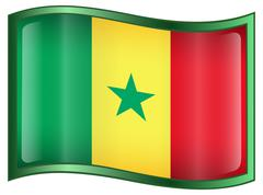 senegal flag icon. - stock illustration