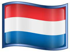 dutch flag icon. - stock illustration