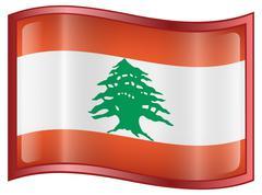 lebanese flag icon. - stock illustration