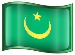 mauritania flag icon. - stock illustration