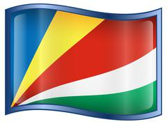 seychelles flag icon. - stock illustration