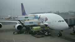 Thai airway unloading cargo container luggage airplane plane Stock Footage