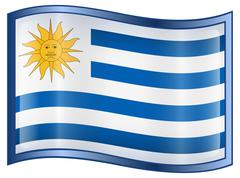 uruguaian flag icon. - stock illustration