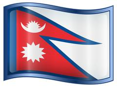Nepal flag icon. Stock Illustration